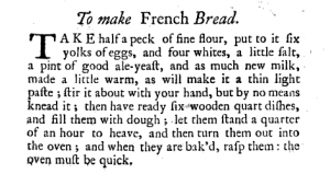 ToMakeFrenchBreadInTheCompleatHousewifeByElizaSmith(1739)